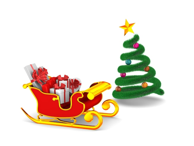 Красные салазки рождества с подарочными коробками на белизне. изолированные 3d иллюстрации Premium Фотографии