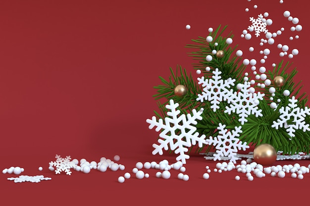 Red christmas snow floating christmas tree-leaf gold ball 3d render