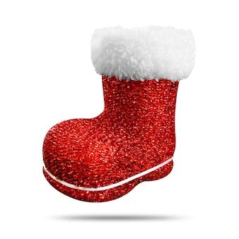 光沢のある質感の白い背景で隔離の赤いクリスマス靴下。