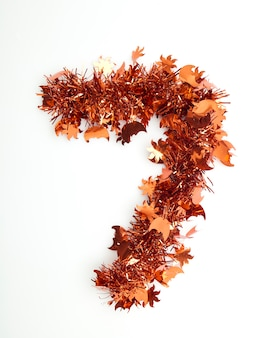 Red christmas tinsel with number