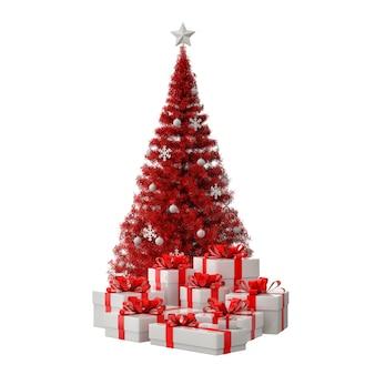 ギフト用の箱が付いている赤いクリスマス ツリー