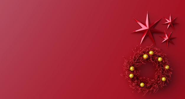 Красный рождественский венок золотой шар, три красные звезды на красном фоне. плоская планировка, вид сверху, копия пространства. 3d рендеринг