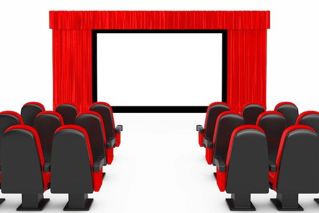 Red cinema movie comfortable chairs in front of cinema screen with open red curtain on a white background. 3d rendering