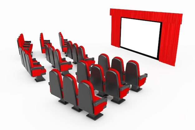 흰색 배경에 열린 빨간 커튼이 있는 영화관 스크린 앞에 있는 레드 시네마 영화 편안한 의자. 3d 렌더링