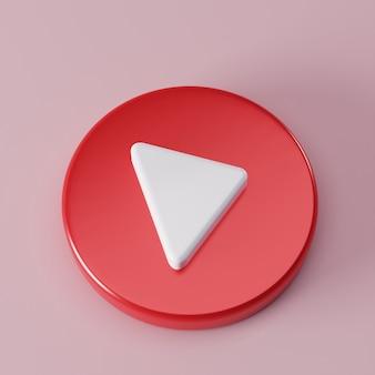 Красный круг кнопка воспроизведения на музыкальной концепции социальные сети 3d-визуализация
