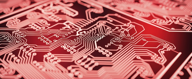 Red circuit board background.
