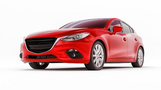 Красный городской автомобиль с пустой поверхностью для вашего творческого дизайна. 3d-рендеринг.
