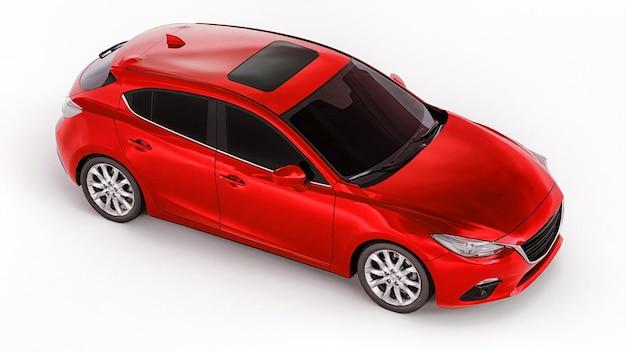 창의적인 디자인을 위한 빈 표면이 있는 빨간색 도시 자동차. 3d 렌더링.
