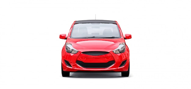 Red city car with blank surface for your creative design