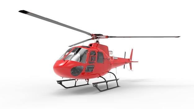 白の背景に赤の民間ヘリコプター。 3 dイラスト