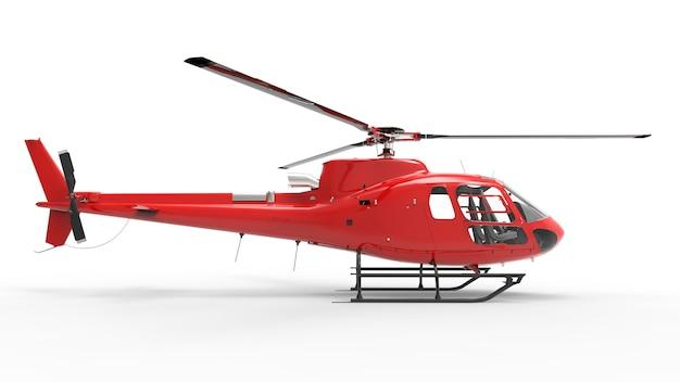 Красный гражданский вертолет на белом фоне равномерной. 3d иллюстрация