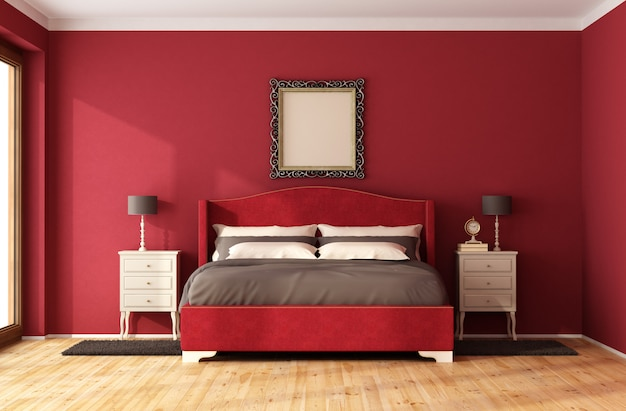 エレガントなダブルベッドを備えた赤のクラシックなベッドルーム