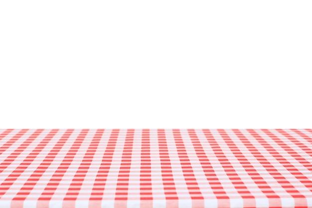 Красная классическая клетчатая скатерть на белом фоне с копией пространства