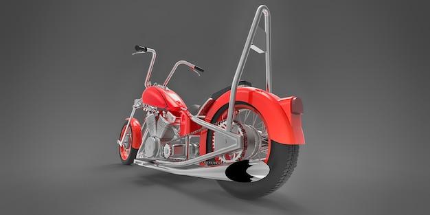 회색 배경에 격리된 빨간색 클래식 사용자 지정 오토바이입니다. 3d 렌더링.