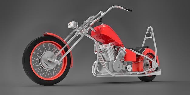 灰色の表面に分離された赤い古典的なカスタムバイク