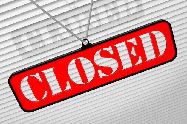 赤い閉じたサイン-閉じた小売店の3dイラスト。