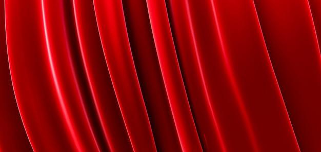 Красная ткань, роскошный гладкий фон, волна шелкового атласа, 3d визуализация
