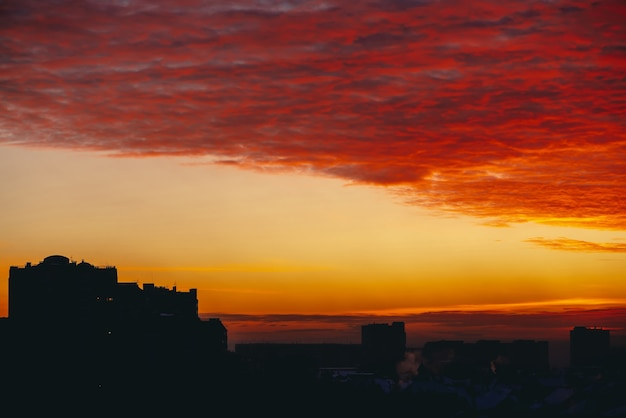 Red cloudscape in city at sunset