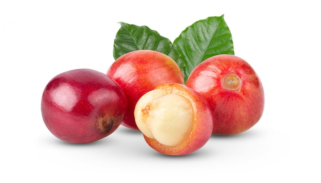 白い壁に赤いコーヒー豆熟したと未熟の果実。