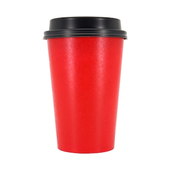 Red coffee cup isolated in white background.