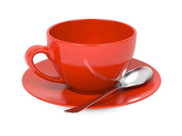 白い背景で隔離のスプーンとソーサーと赤いコーヒーカップ。