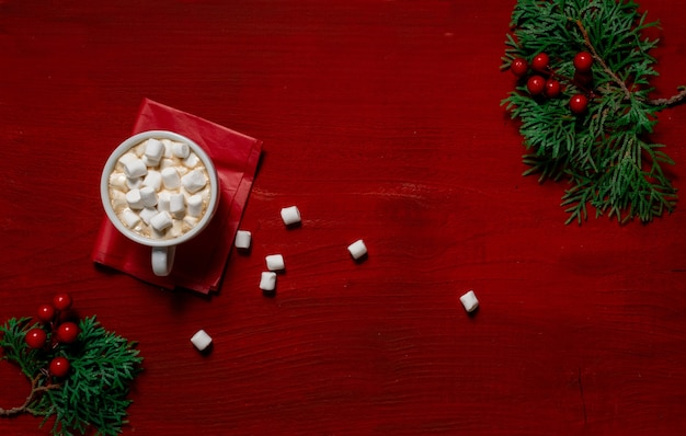 Red coffee cup wooden wood background marshmallow new year copy space