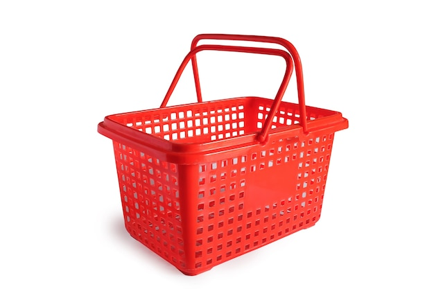 Red color plastic of shopping basket on background.
