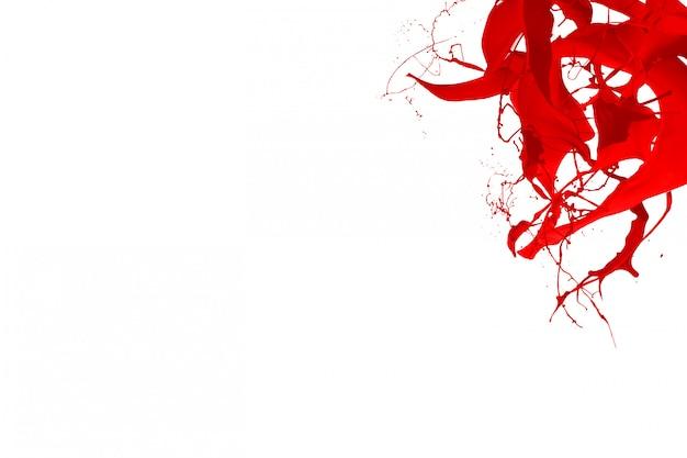 赤い色のスプラッシュ動的液体流体顔料クリエイティブ背景