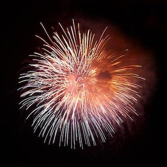 黒い空の背景に赤いカラフルな花火。休日のお祝い。