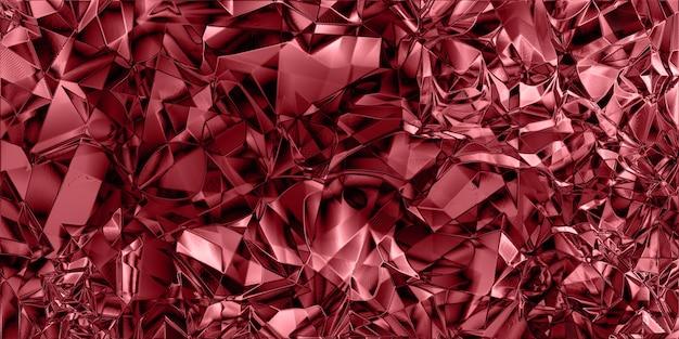 赤いカラフルな光沢のある砕いたホイルの質感