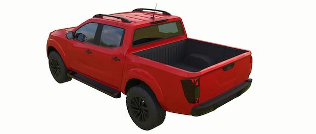 더블 캡이 있는 빨간색 상업용 차량 배달 트럭. 로고와 라벨을 수용할 수 있는 깨끗한 빈 몸체로 휘장이 없는 기계. 3d 렌더링.