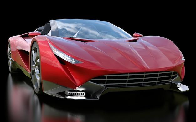 검정색 배경에서 도시와 경주 트랙을 운전하기 위한 빨간색 개념의 스포츠 카브리올레. 3d 렌더링.