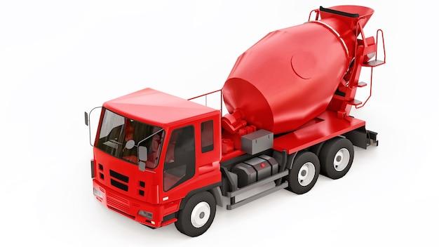 빨간색 콘크리트 믹서 트럭 흰색 배경입니다. 건설 장비의 3차원 그림입니다. 3d 렌더링.