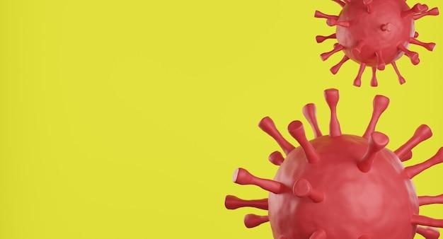 Клетка вируса красной короны на желтом фоне
