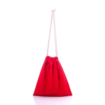 Red cotton bag for coin.