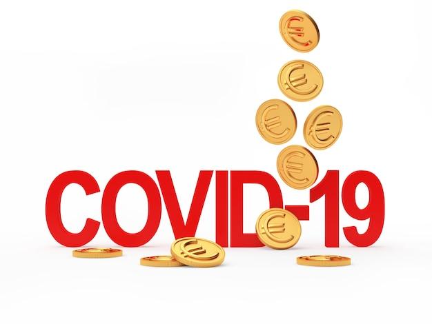 Красный символ covid-19 и падающие золотые монеты евро