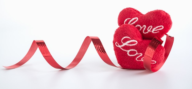 Red craft heart shape and ribbon on white background,valentine concept