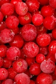 赤いクランベリーがクローズアップ。便利なワイルドベリー