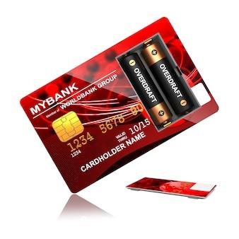 白い背景の上の電池と赤いクレジットカード
