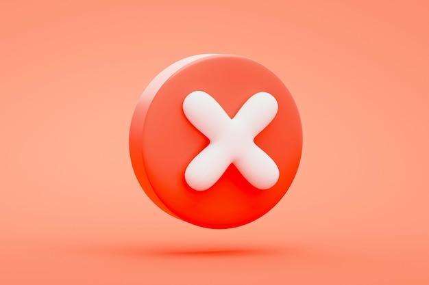 적십자 취소 아이콘 버튼 또는 빨간색 배경 3d 렌더링의 기호