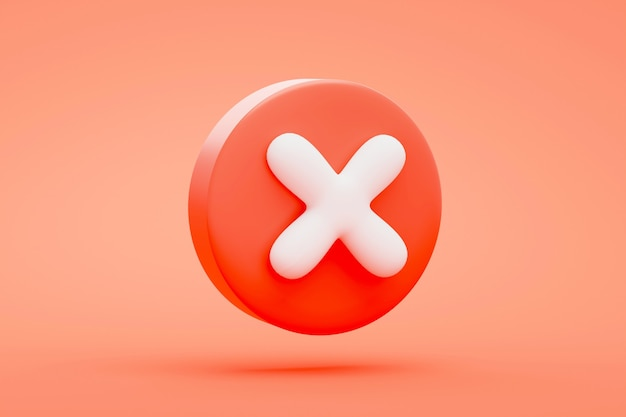 Red cross cancel icon button or symbol  on red background 3d rendering