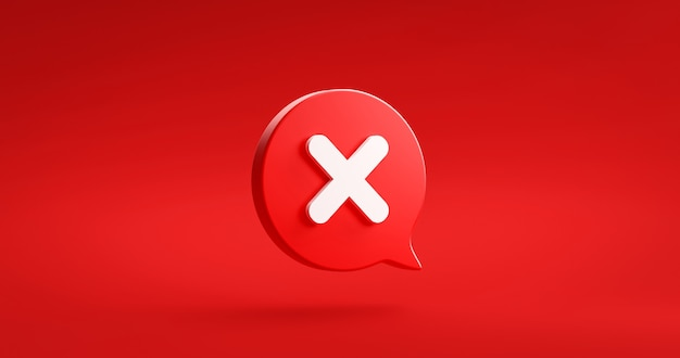 Red cross check mark icon button and no or wrong symbol on reject cancel sign button negative checklist background with decline option box. 3d rendering.