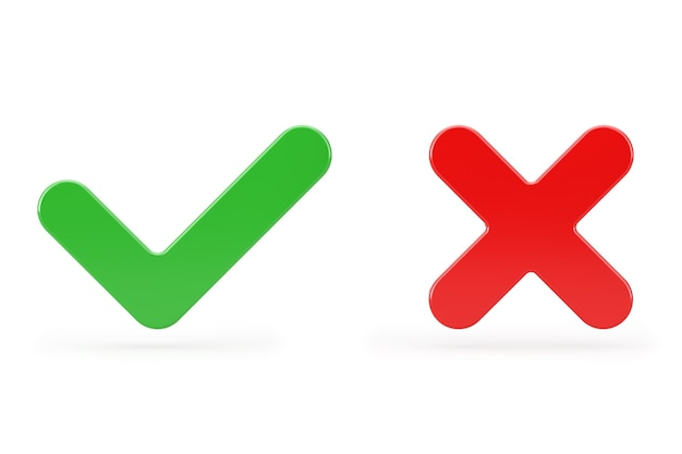 Red cross and green check mark, confirm or deny, yes or no icon sign on a white background. 3d rendering