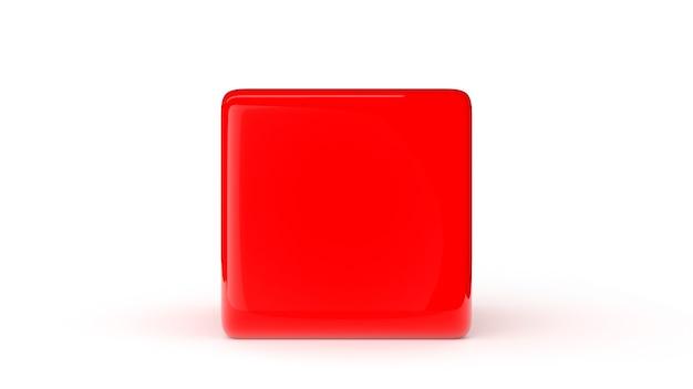 흰색 배경 3d 렌더링 그림에 고립 된 빨간색 큐브