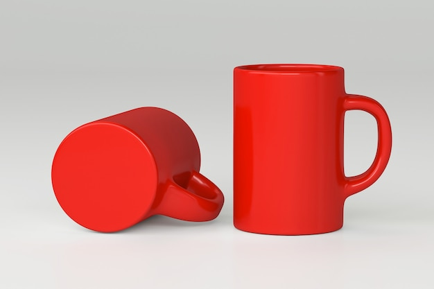 Red cup isolated on light grey surface promo for branding corporate logo 3d render