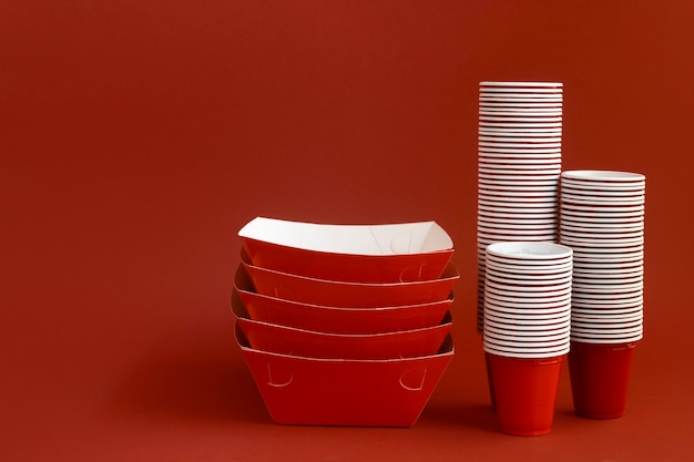 Red cups and containers arrangement