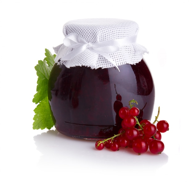 Red currant jam isolated