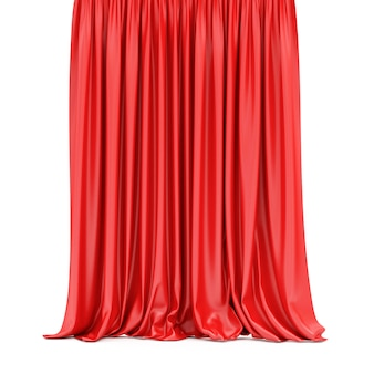 Red curtain isolated on white