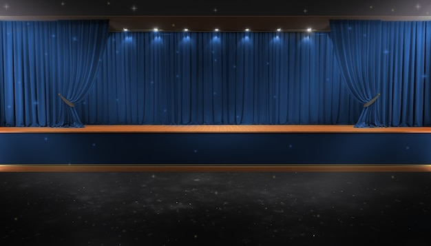 Red curtain and a spotlight. festival night show poster. event premiere poster