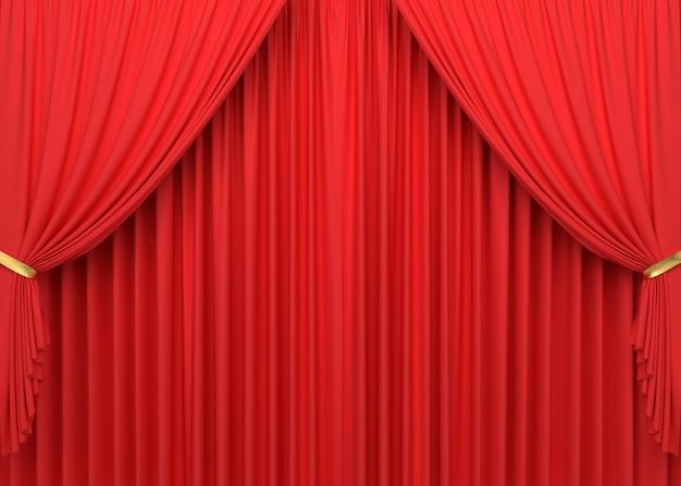 赤いカーテンの3dレンダリング